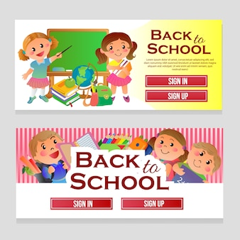 Colorful web banner school theme with cartoon kids