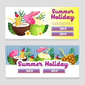 Colorful web banner summer theme with cocktail drink vector illustration