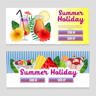 Colorful web banner summer theme with refreshment drink vector illustration