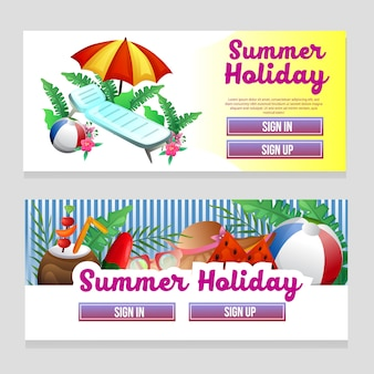 Colorful web banner template summer theme with umbrella beach