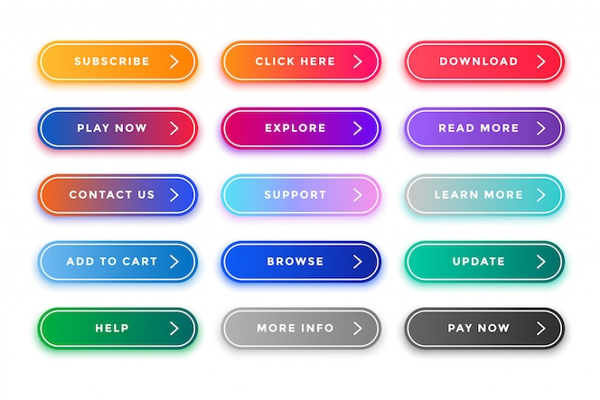 Colorful web buttons pack for different purposes