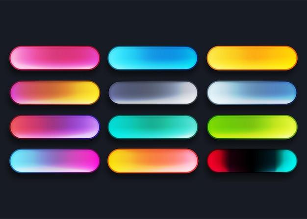 さまざまな色で設定されたカラフルなウェブボタン Premiumベクター