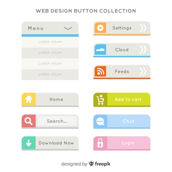 Colorful web design button collection with flat design