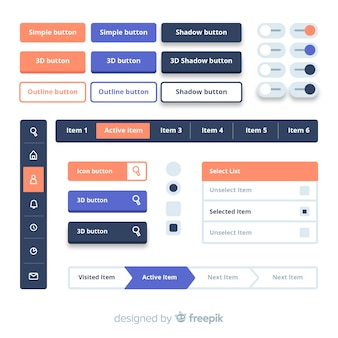 평면 디자인으로 다채로운 웹 디자인 버튼 모음
