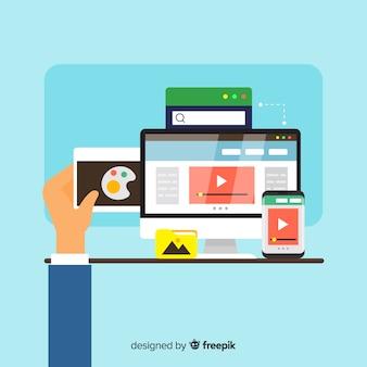 Красочная концепция веб-дизайна с плоским дизайном