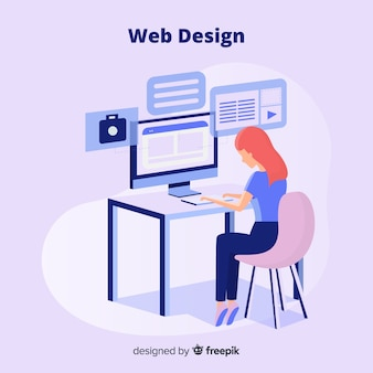 Colorful web design concept with flat design