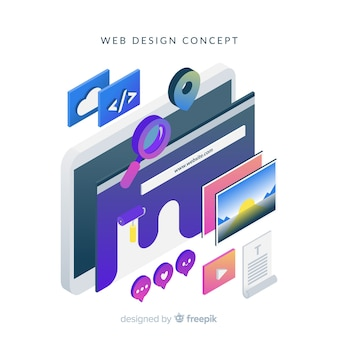 Colorful web design concept with isometric perspective