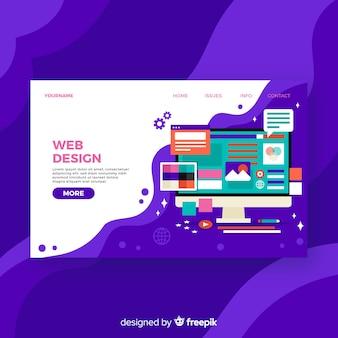 Pagina di destinazione colorata di web design