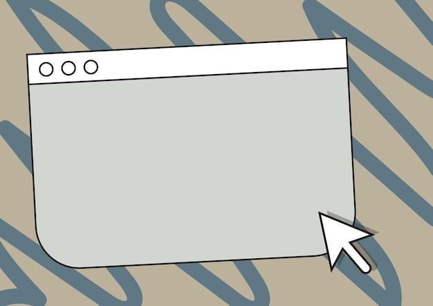 空のオンライン検索エンジンの図面の下にカーソルポインタでカラフルなウェブページの閲覧図面