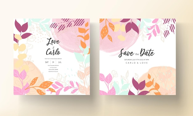 Colorful wedding card with flat floral ornament