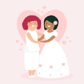 Colorful wedding couple concept