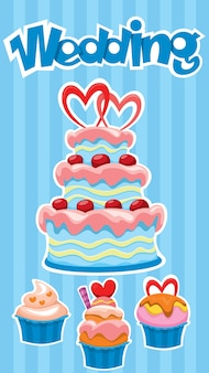 Colorful wedding desserts banner with tasty cake and cupcakes stickers on blue striped