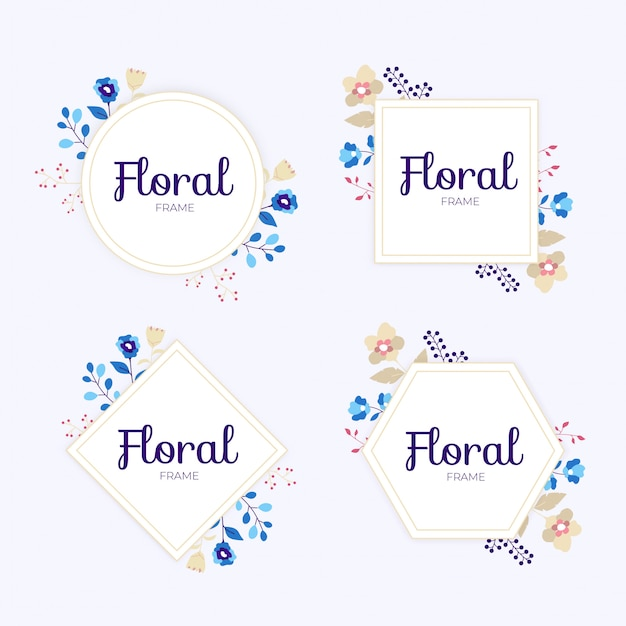 Colorful wedding floral frame collection