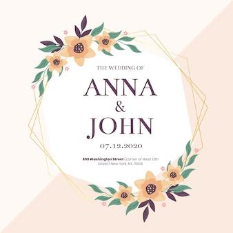 カラフルな結婚式の花のフレームコンセプト