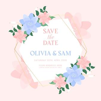 カラフルな結婚式の花のフレームのテーマ