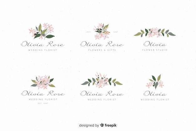 Colorful  wedding florist logos