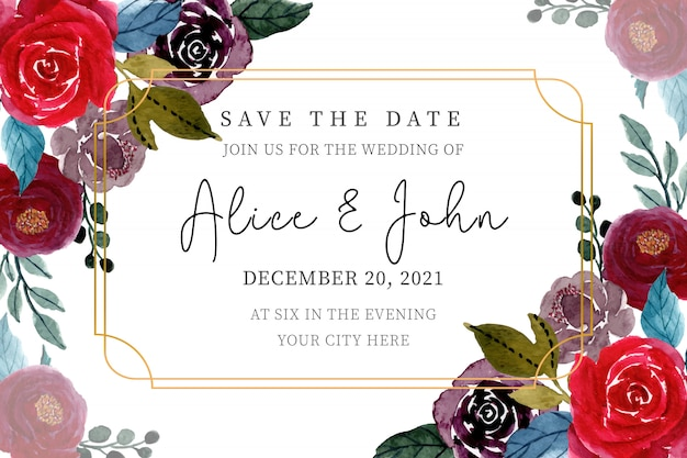 Colorful wedding invitation card template with floral watercolor