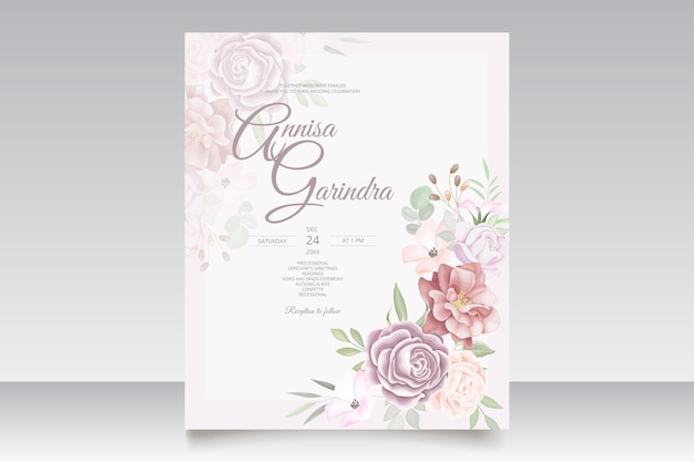 Colorful  wedding invitation card with beautiful floral and leaves template set