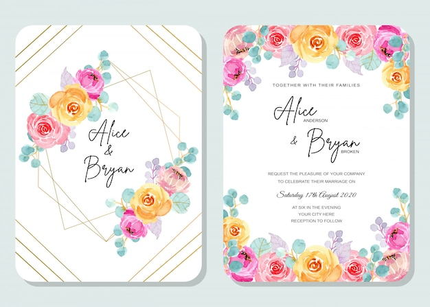 Colorful wedding invitation card with floral watercolor