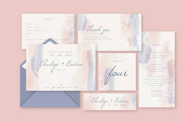 Colorful wedding invitation concept