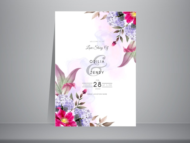 Colorful wedding invitation template with beautiful hydrangea watercolor design