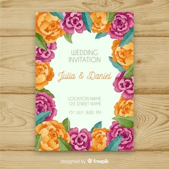 Colorful wedding invitation template with watercolor peony flowers