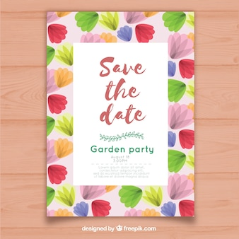 Colorful wedding invitation with flat flowers