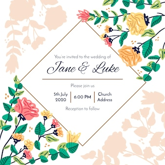 Colorful wedding invitation with flowers