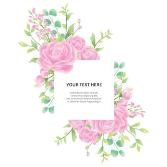 Colorful wedding invitation with watercolor floral frame