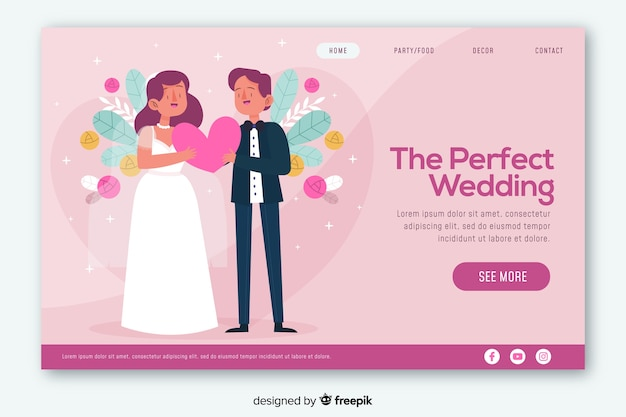 Colorful wedding landing page web design