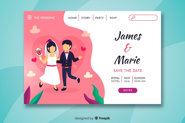 Colorful wedding landing page