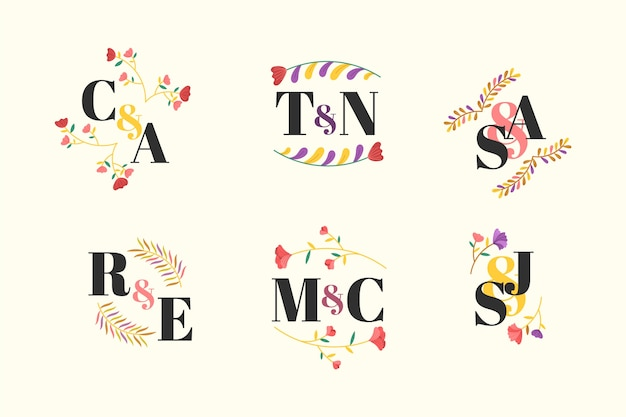 Colorful wedding monogram collection concept
