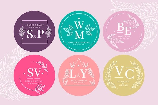 Colorful wedding monogram collection template