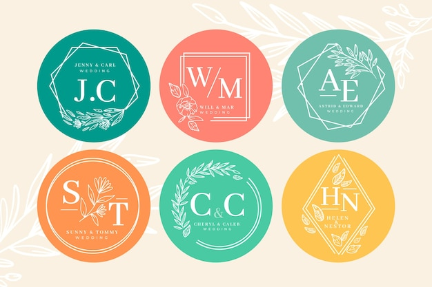 Colorful wedding monogram collection