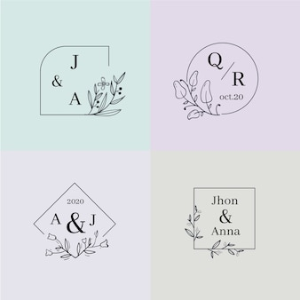 Colorful wedding monograms collection