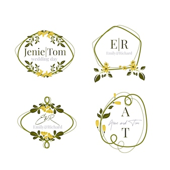 Colorful wedding monograms pack