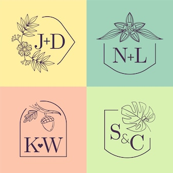 Colorful wedding monograms
