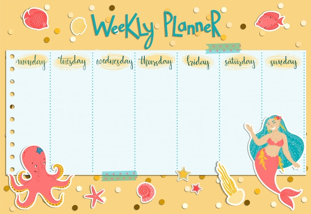 Colorful weekly planner with a mermaid, seaweed, fishes, shells and octopus.