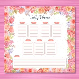 Colorful weekly planner with watercolor flower theme