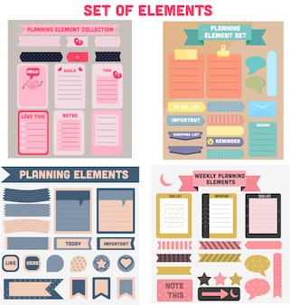 Colorful weekly planning elements collection like as sticky, label, bookmark, ribbon, paper and notes.