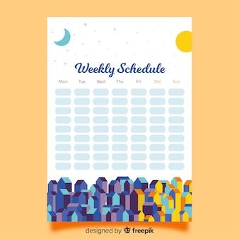 Цветной шаблон недельного расписания с плоским дизайном