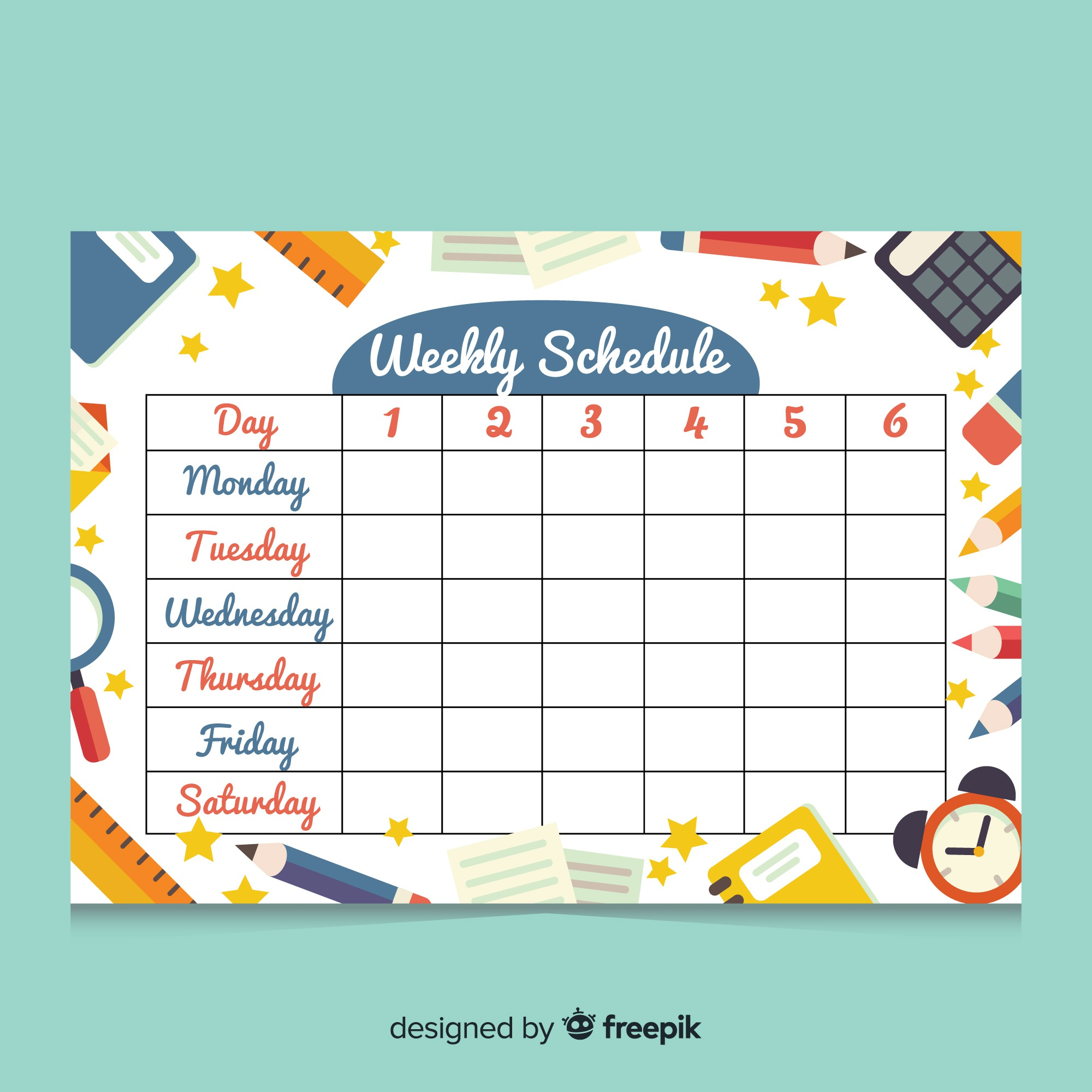 Colorful weekly schedule template with flat design