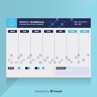 Цветной шаблон недельного расписания с плоским дизайном Бесплатные векторы