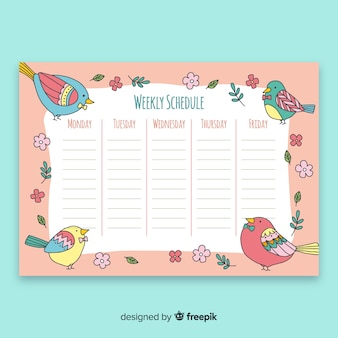 Colorful weekly schedule template with lovely animals