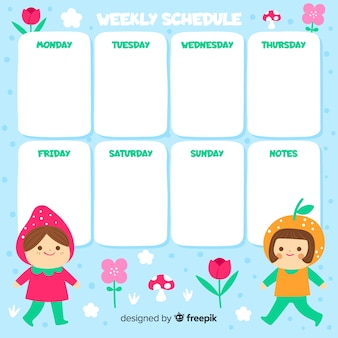 Colorful weekly schedule template with lovely style