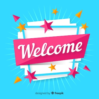 Colorful welcome composition with flat design
