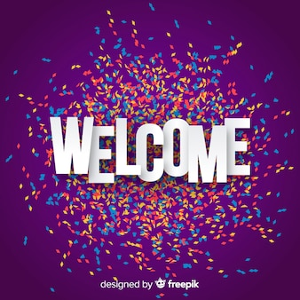 Colorful welcome composition with origami style