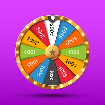 Colorful wheel of luck or fortune infographic online casino background