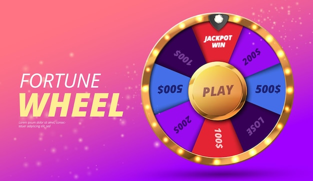 Colorful wheel of luck or fortune infographic vector illustration online casino background