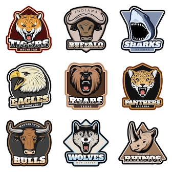 Colorful wild animals badge set